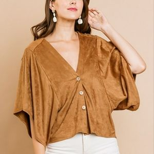 2/$45 NWT Caramel Suede Button Down Blouse